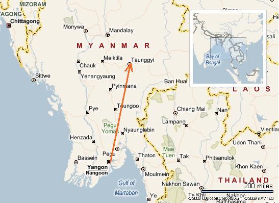 Peta laluan Yangon-Taungyi (Inle Lake)