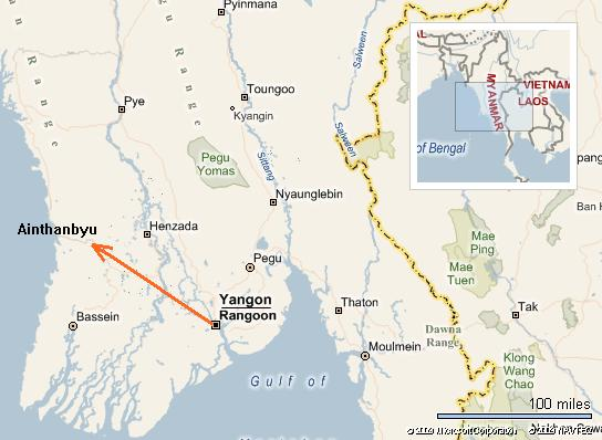 Aithabyu is about 120 miles from Yangon, in the Ayeyarwaddy Division