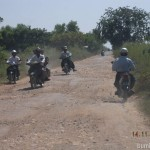 Gravel road leading to Shwekyin, Myanmar. A 4WD is perfect for this road condition