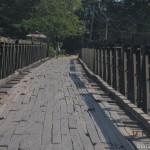 A wooden bridge for all enroute Shwekyin, Mynamar