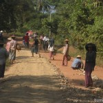 Road construction at Shwekyin in Myanmar using cheap labor force. Daily wage is 1000kyats.
