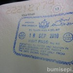 Passport must be stamped by Brunei Immigration at the Sungai Tujuh checkpoint.