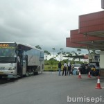 Bus passengers must get down at the Brunei immigration checkpoint.