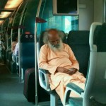 Old man with mission on the train