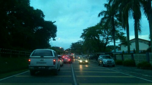 Morning rush hour in Miri City