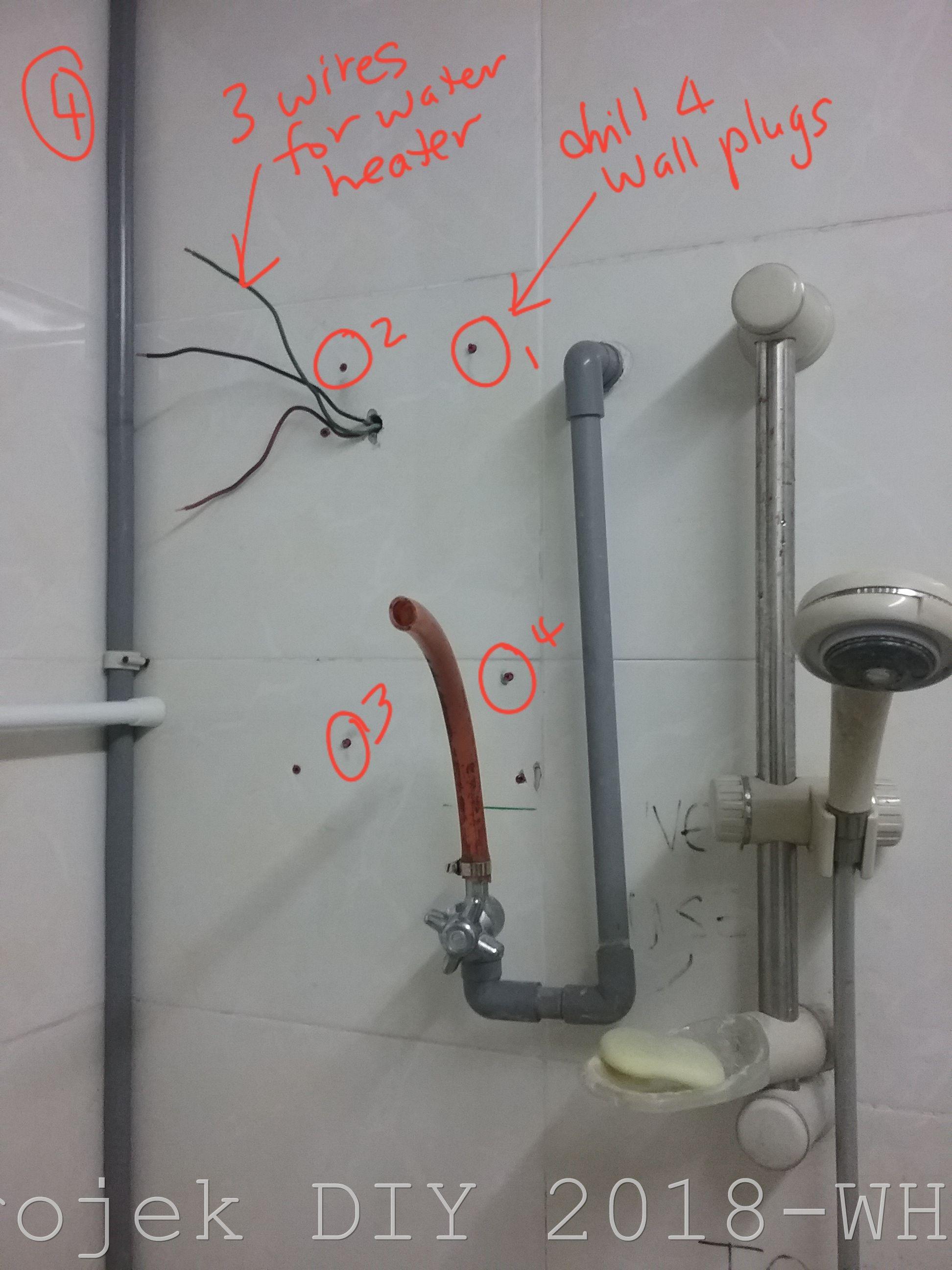 Dg Menggunakan Drill Tebuk 4 Lubang Skru Di Dinding Konkrit Dalam Bilik Air Lokasi Empat Ini Mesti Matching Pada Back Cover